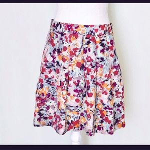 J.Crew Factory Pleated Watercolor Floral Skirt